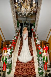Aisling on the staircase of Ballyseedy Castle on her wedding day