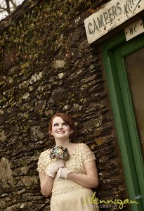 Vintage wedding hair upstyle, Ballintaggart house, Dingle wedding, vintage dress, vintage hairdresser